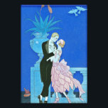 """Midnight Kiss Art Deco Print<br><div class=""""desc"""">Midnight Kiss Art Deco print. Art Deco illustration from 1921. French artist Georges Barbier was famous for his beautiful and lively depiction of Parisian nightlife. Midnight Kiss depicts a couple standing on a balcony overlooking the river as a boat sails by in the distance. The man wears a black tuxedo...</div>"""