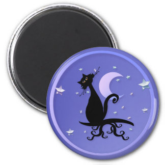 Midnight Kitty Magnets