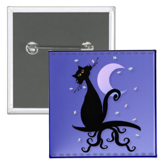 Midnight Kitty Magnets 2 Inch Square Button
