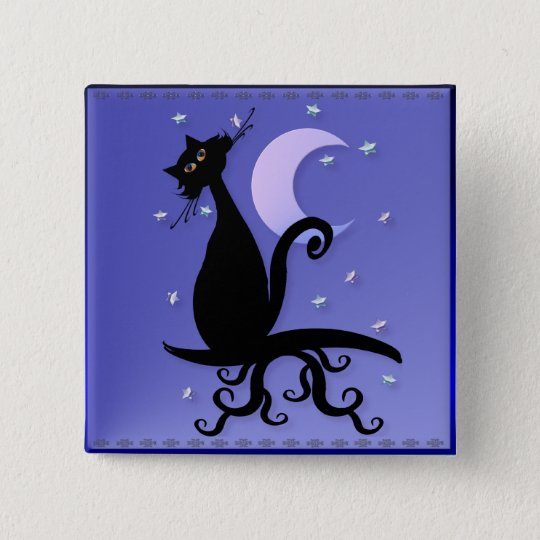 Midnight Kitty Magnets Pinback Button