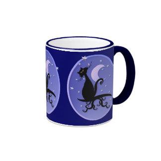 Midnight Kitty Oval Mugs