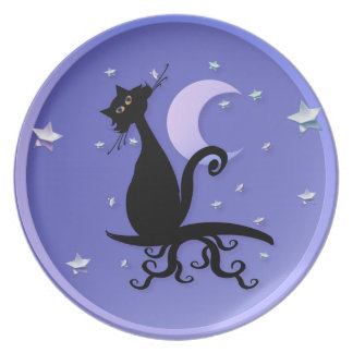 Midnight Kitty Plate
