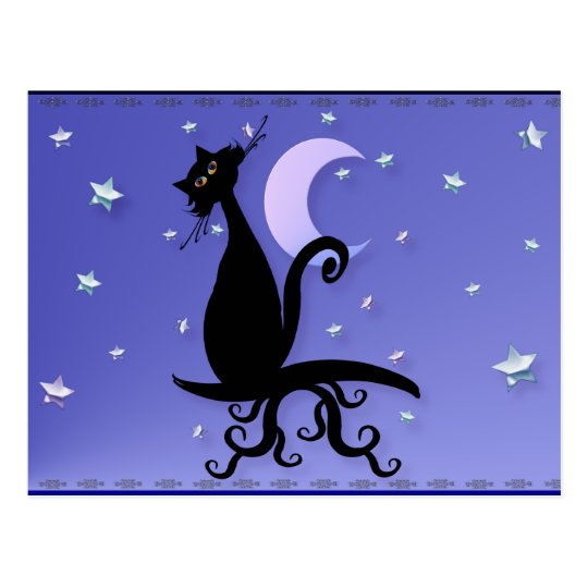 Midnight Kitty Postcard