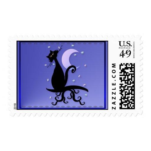 Midnight Kitty Stamp