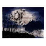 Midnight landscape postcard
