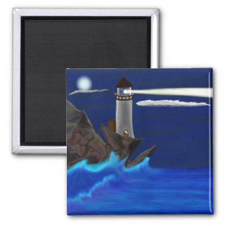Midnight Lighthouse Landscape 2 Inch Square Magnet