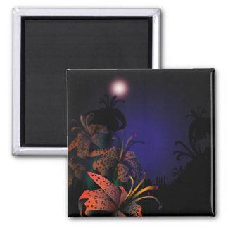 Midnight Lillies fridge magnet