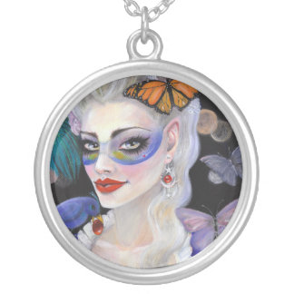 Midnight Masquerade Fairy Silver Plated Necklace