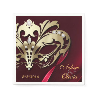 Midnight Masquerade Red Wedding Napkin