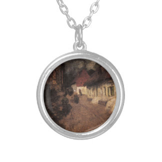 Midnight Mass by Frits Thaulow Round Pendant Necklace