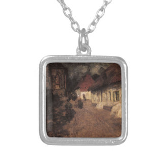 Midnight Mass by Frits Thaulow Square Pendant Necklace