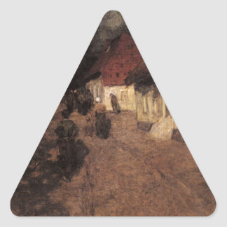 Midnight Mass by Frits Thaulow Triangle Sticker