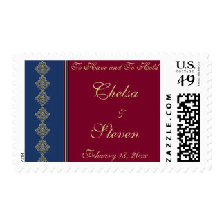 Midnight Merlot Wedding Invitation Postage Stamps