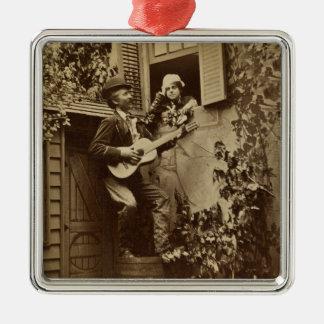 Midnight Minstrel Serenade - Vintage 1881 Post Car Square Metal Christmas Ornament