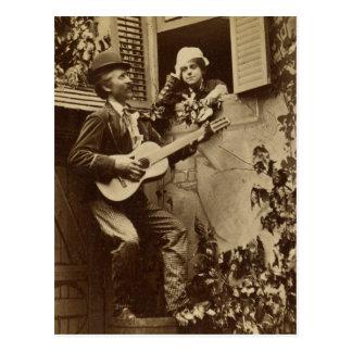 Midnight Minstrel Serenade - Vintage 1881 Postcard