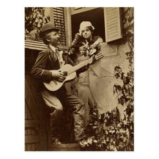 Midnight Minstrel Serenade - Vintage 1881 Post Card
