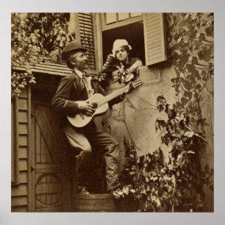 Midnight Minstrel Serenade - Vintage 1881 Poster