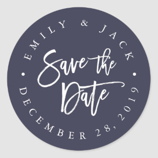 Midnight   Modern Brush Lettered Save the Date Classic Round Sticker
