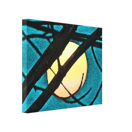 Midnight Moon and Branches Blue Sky Canvas Print