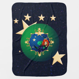 Midnight Moon Angel & Gold Stars Receiving Blankets
