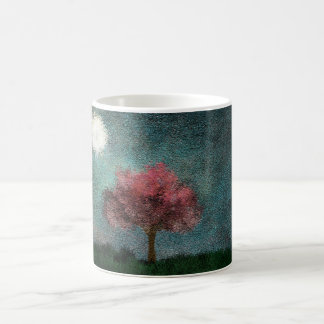 midnight moon pink tree classic white coffee mug