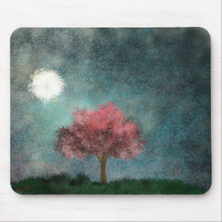 midnight moon pink tree mouse pads