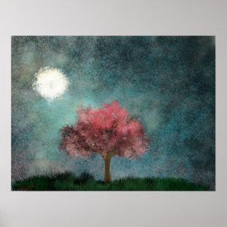 midnight moon pink tree poster
