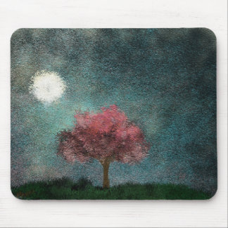 midnight moon pink tree texture mouse pad