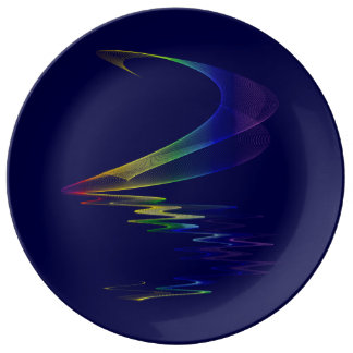 Midnight Moonbow Navy Abstract - Lunar Rainbow Dinner Plate
