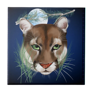 Midnight Mountain Lion Tile