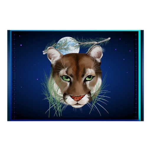 Midnight Mountain Lion wide Poster