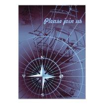 Midnight Nautical Compass Sailing Ships Card