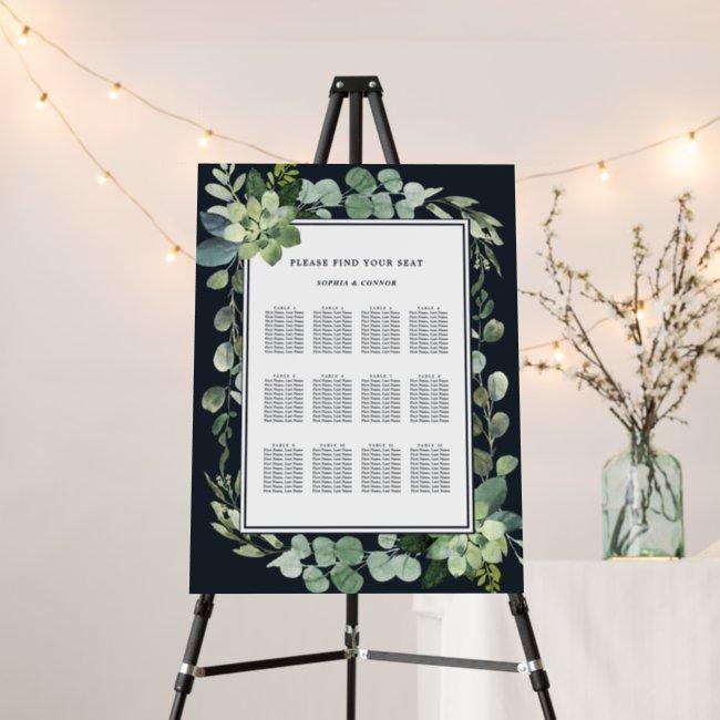 Midnight Navy Blue Succulent Wedding Seating Chart Foam Board