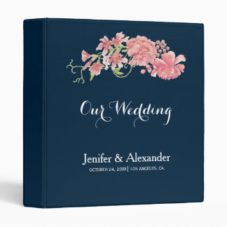 Midnight navy floral blush peonies wedding binder