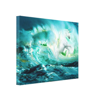 Midnight Ocean Unicorn Stretched Canvas Print