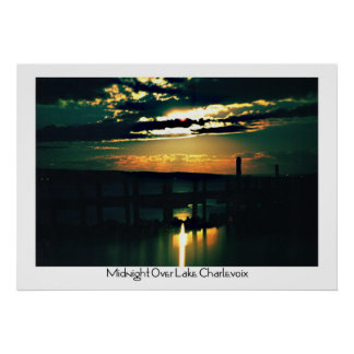 Midnight Over Lake Charlevoix Poster