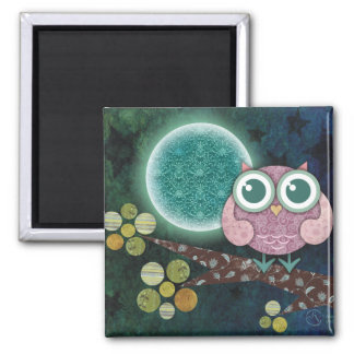 Midnight Owl 2 Inch Square Magnet