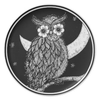 Midnight Owl Melamine Plate