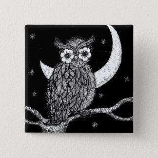 Midnight Owl Square Pin