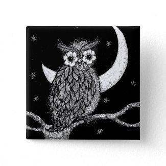 Midnight Owl Square Pin button