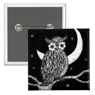 Midnight Owl Square Pin
