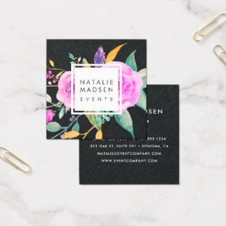 Midnight Pink Floral | Black Square Business Card