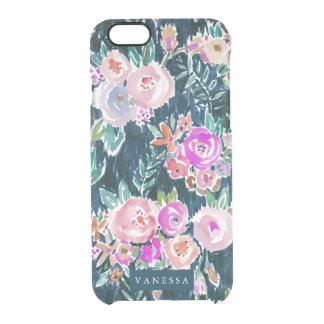 Midnight Profusion Dark Rose Floral PERSONALIZED Clear iPhone 6/6S Case