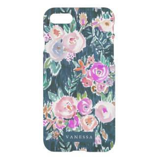 Midnight Profusion Dark Rose Floral PERSONALIZED iPhone 7 Case