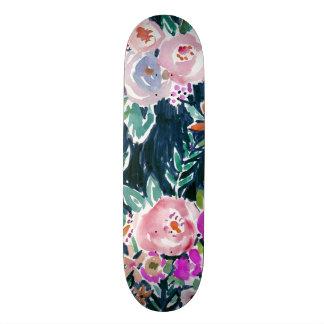 Midnight Profusion Dark Rose Floral Skateboard