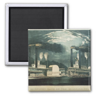 Midnight Race on the Mississippi, 1875 2 Inch Square Magnet