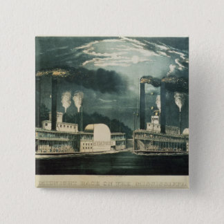 Midnight Race on the Mississippi, 1875 Pinback Button