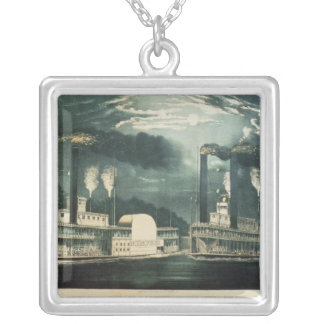 Midnight Race on the Mississippi, 1875 Silver Plated Necklace