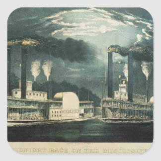 Midnight Race on the Mississippi, 1875 Square Sticker