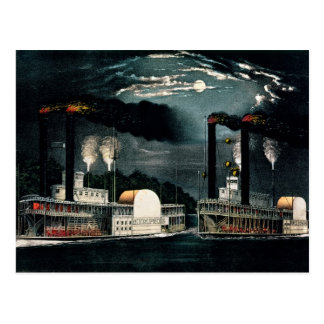Midnight Race on the Mississippi Postcard